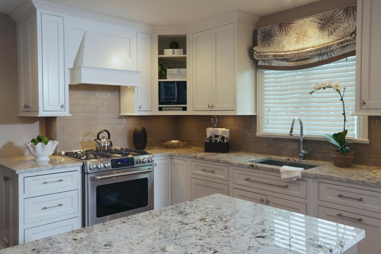 Small Range Hood In Elegant Kitchen Hgtv