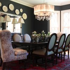 Dark Gray Dining Room With Armchairs