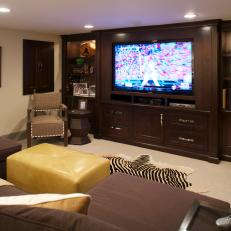 Neutral Media Room With Custom TV Cabinet Feels Masculine, Contemporary