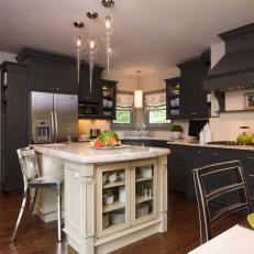 Traditional Kitchen With Contemporary Lighting Feels Glamorous
