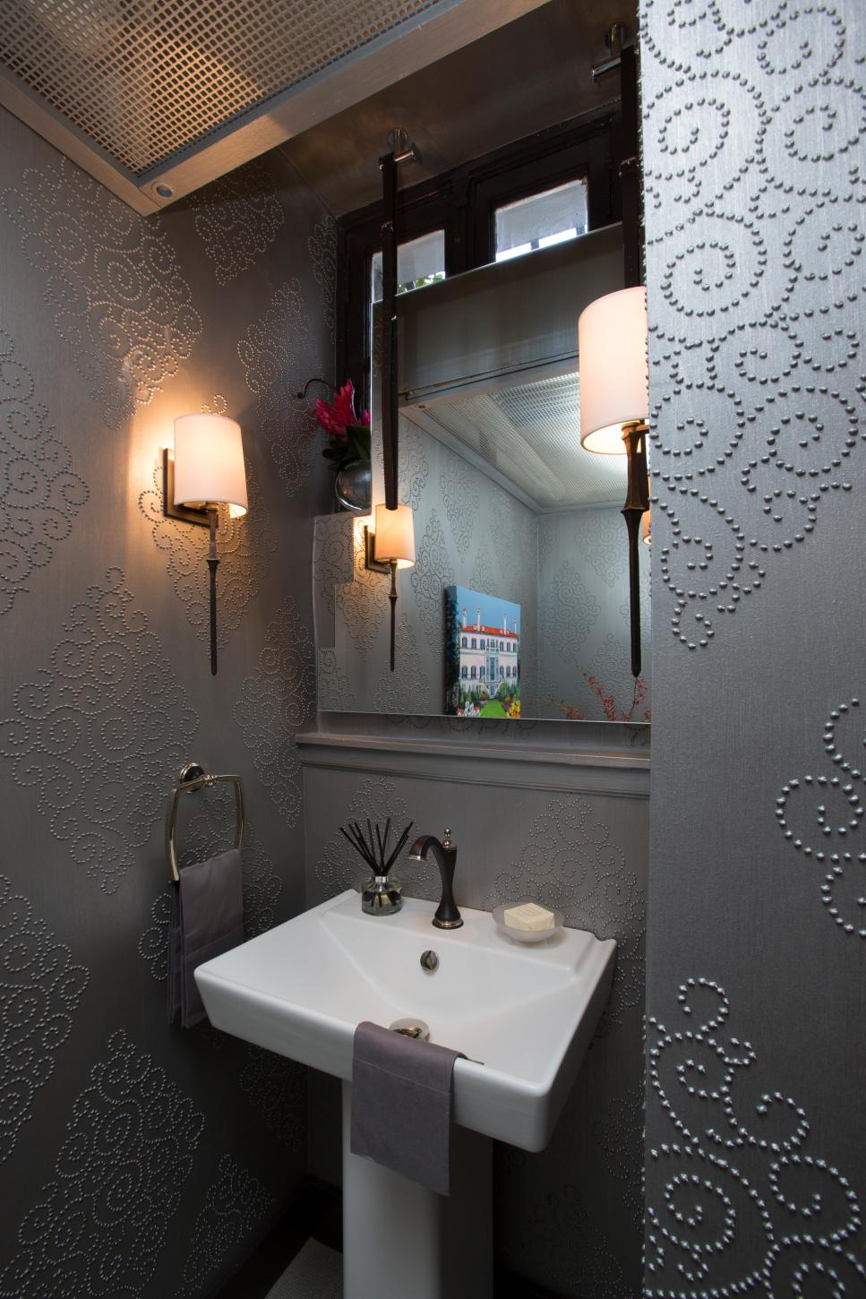 Art Deco Powder Room With Silver Wallpaper