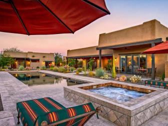 Warm Southwestern Home With Tile Hot Tub and Pool