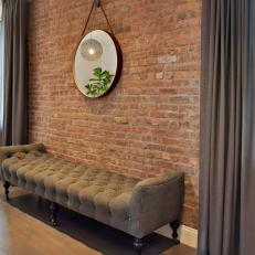 Urban Living Room With Brick Accent Wall