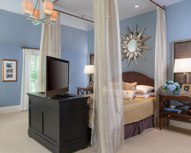 Blue Transitional Master Bedroom With TV at Foot of Bed