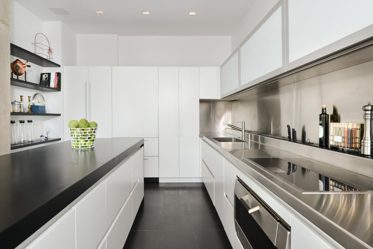Photo page hgtv for Black and white galley kitchen