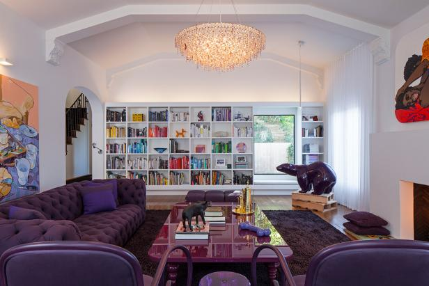 Contemporary Purple and White Living Room With Glass Chandelier