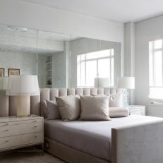 White Bedroom With Mirrored Accent Wall