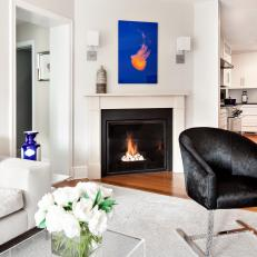 White Contemporary Family Room With Bold Blue Artwork