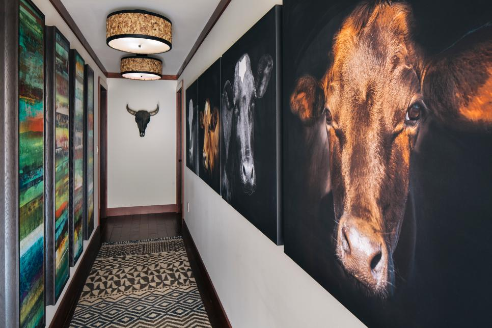 Contemporary Western Hallway With Art
