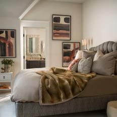 Neutral Transitional Bedroom With Fur Throw