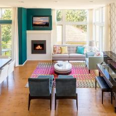 Living Room With Wood Floor, Teal Wall