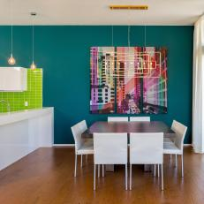 Contemporary Teal Dining Room