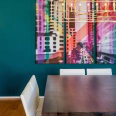 Teal Dining Room With Abstract Art