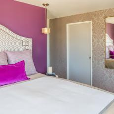 Purple Bedroom With Damask Wallpaper