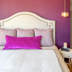 Purple Bedroom With Padded Headboard
