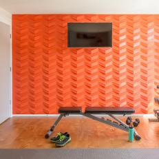 Home Gym With Patterned Orange Wall