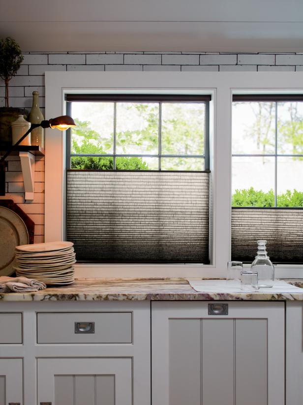 10 Stylish Kitchen Window Treatment Ideas | HGTV on wood blinds for the kitchen, sheer curtain for the kitchen, furniture for the kitchen, lighting ideas for the kitchen, bay window curtains for the kitchen, flooring ideas for the kitchen, wallpaper ideas for the kitchen, floor ideas for the kitchen,