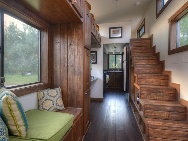 Staircase and Window Seat in Tiny Home