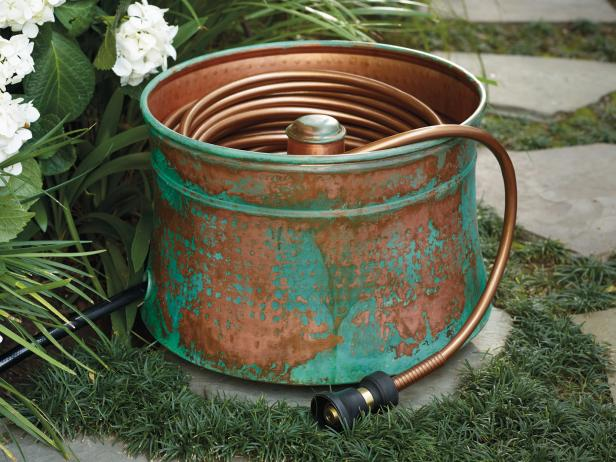 patina copper hose pot - Garden Hose