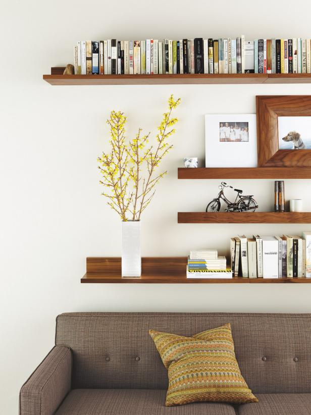 Modern Living Room With Wall-Mounted Shelves