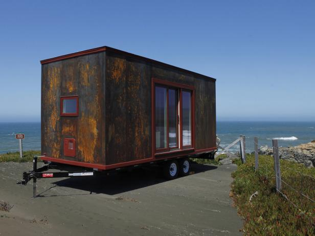 Tiny Home on Wheels With Rustic Metal Exterior