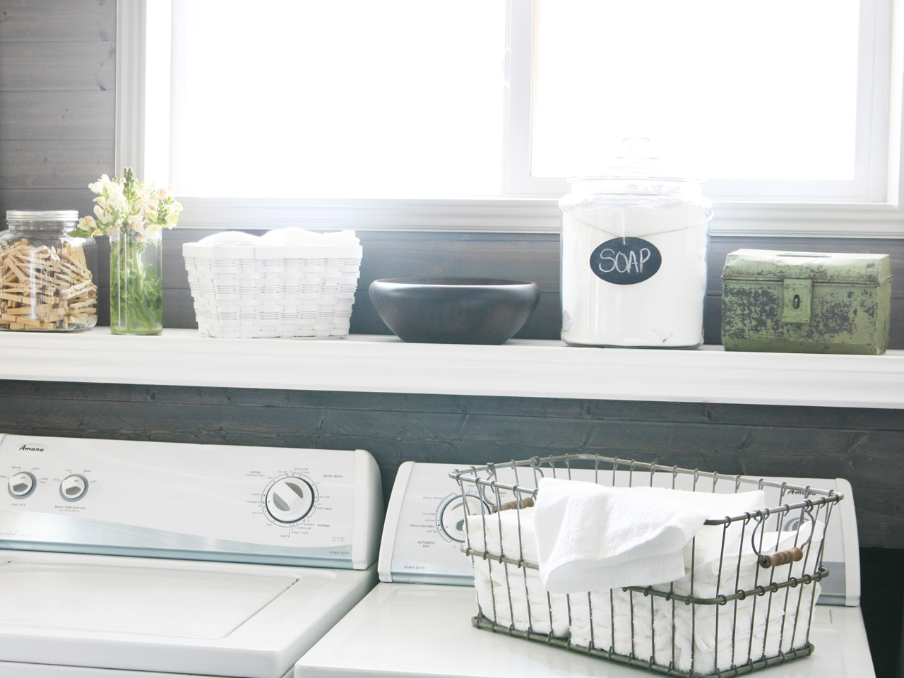 Laundry Room With Stylish Storage Containers & 10 Chic Storage Containers You Wonu0027t Be Embarrassed to Leave Out ...