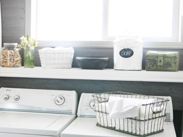 Laundry Room With Stylish Storage Containers