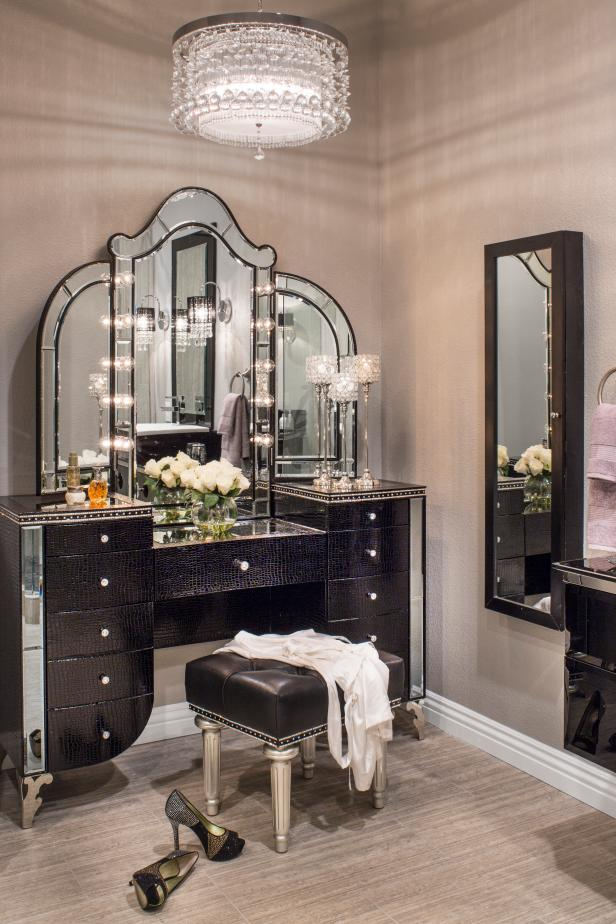 Glamorous Dressing Room With Contemporary Chandelier Hgtv