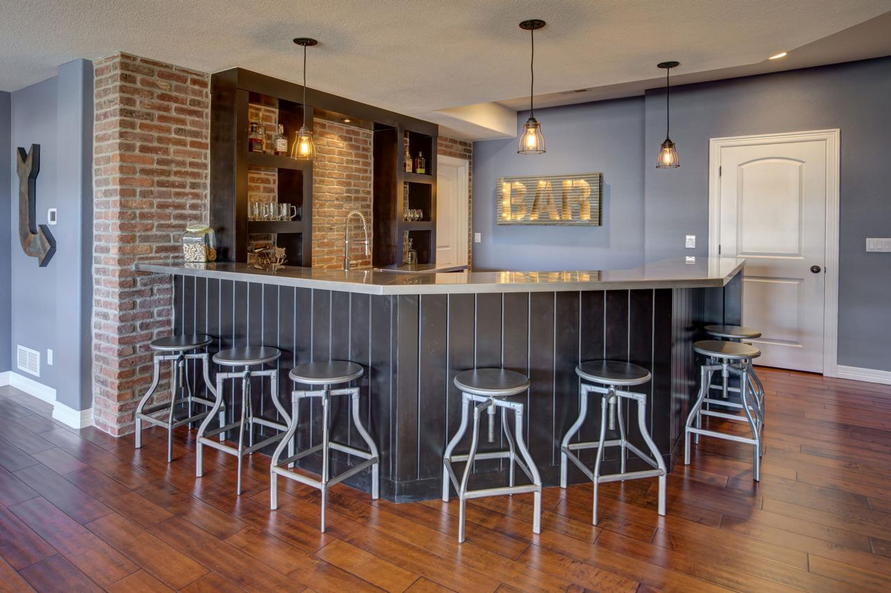 Basement Wet Bar With Exposed Red Brick Wall Hgtv
