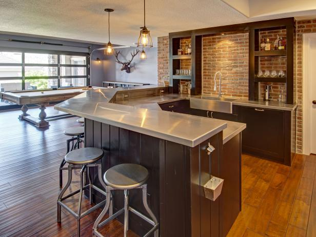Industrial Basement Wet Bar With Pool Table