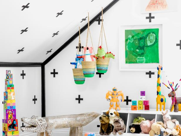Play Corner Tucked Under Low Ceiling Includes Fun Storage Options