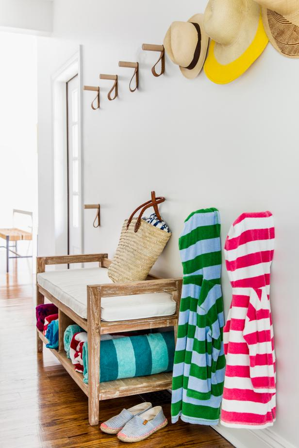 Beach House Entryway With Bench and Wall Hooks