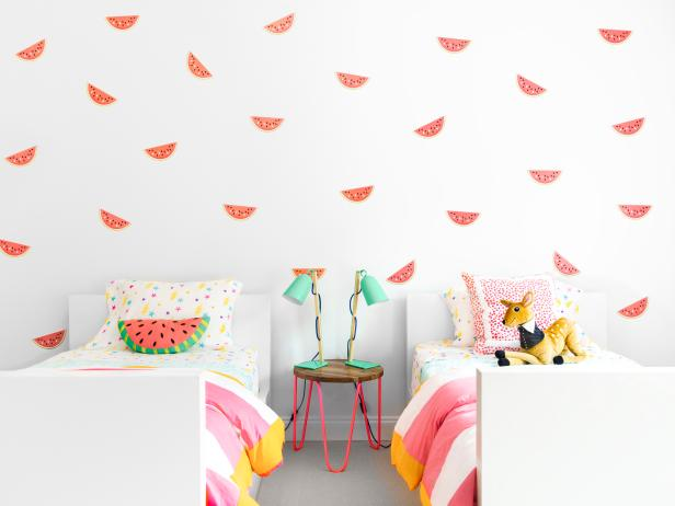 Girl's Bedroom Featuring Watermelon Wall Print and Subtle Neon Accents