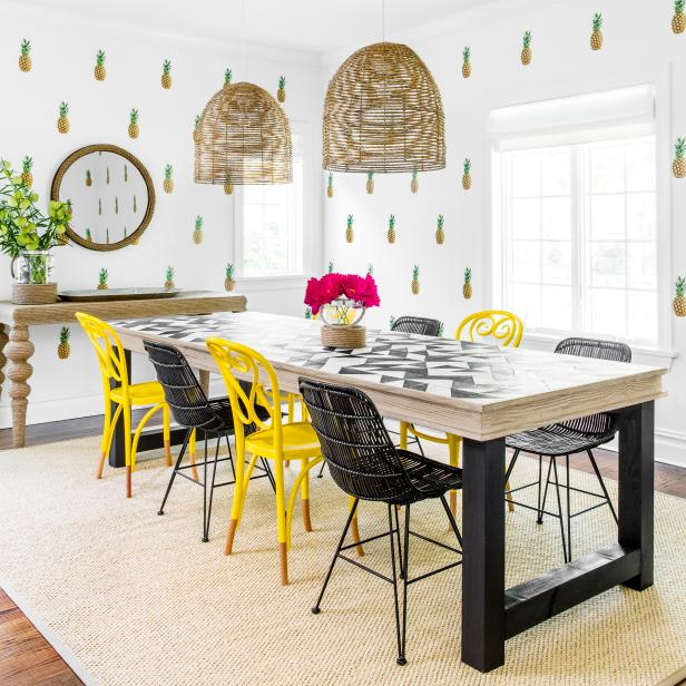 Pineapple Wallpaper, Yellow-and-Black Chairs Make This a Dining Room for Fun