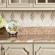 Neutral, Traditional Kitchen with Glazed Cabinetry