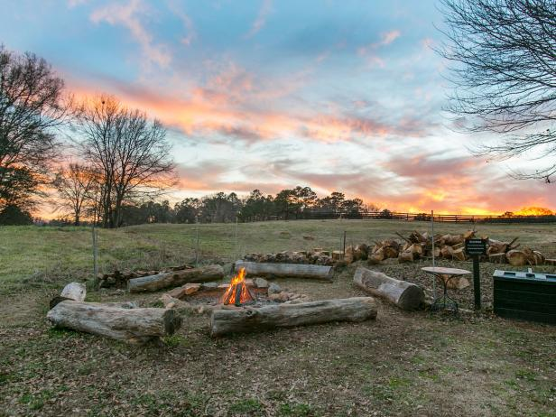 Rustic Fire Pit with Log Seating