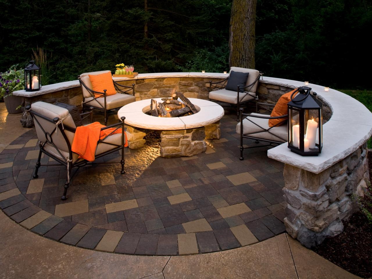 Fire Pit And Paver Patio On The Edge Of Woods