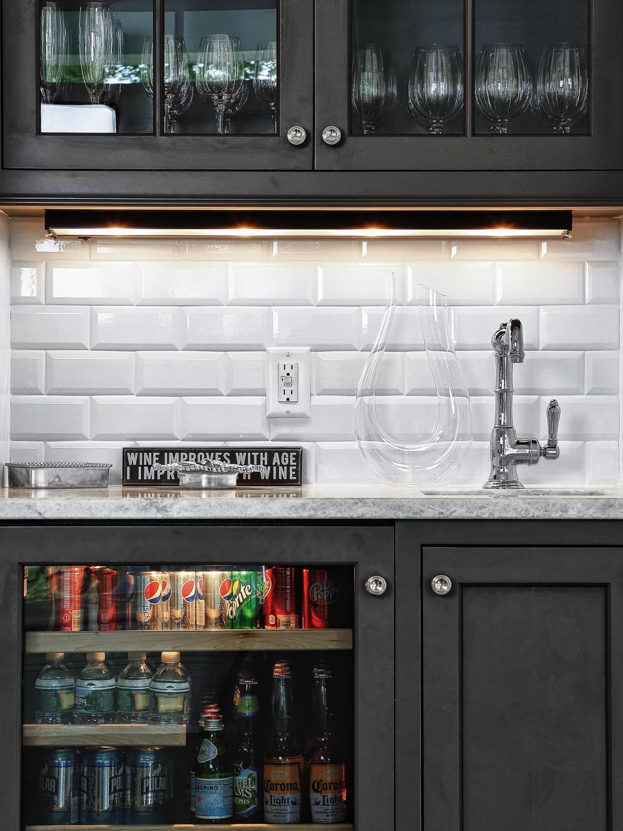Closet Wet Bar With Subway Tile Backsplash | HGTV