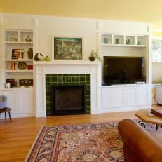 Custom Cabinetry In Remodeled Craftsman Style Living Room