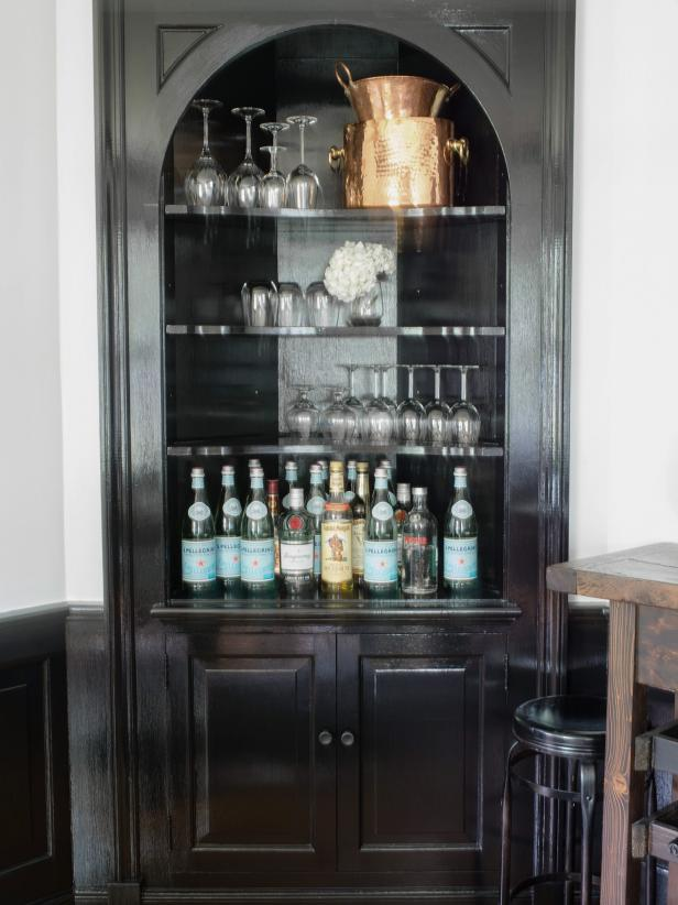 Corner Cabinet Transformed Into Small Bar