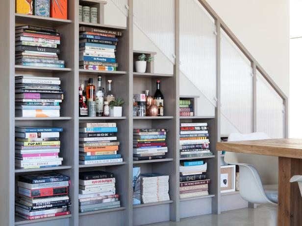 Under-the-Stairs Bookshelves and Bar