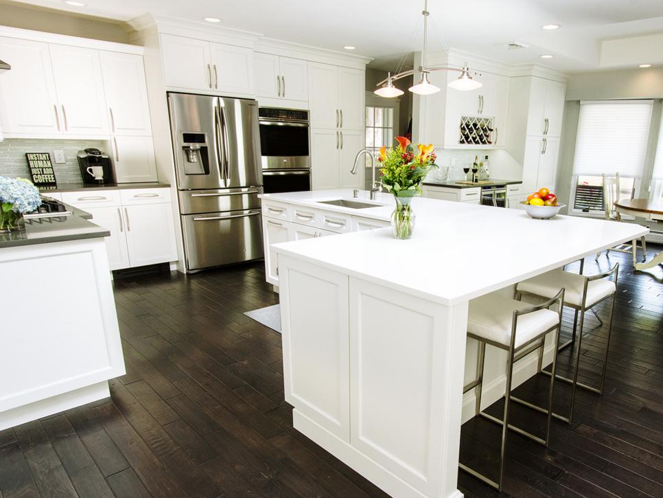 BeforeandAfter LShaped Kitchen Remodels HGTV Adorable White Kitchen Remodel Concept Decoration