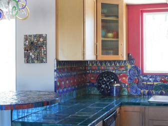 Colorful Kitchen With Handmade Ceramic Tile Countertops