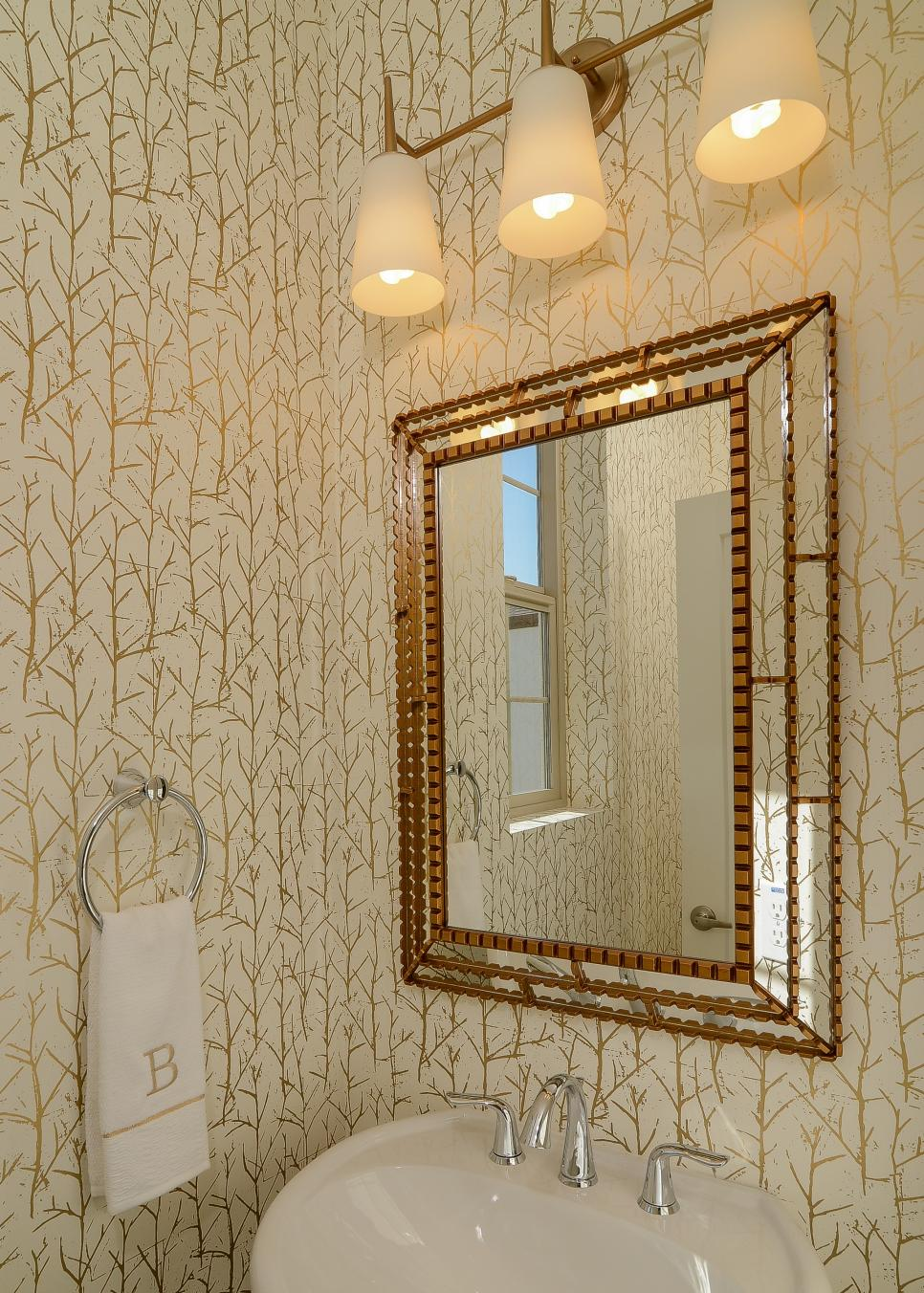 White and Gold Transitional Bathroom