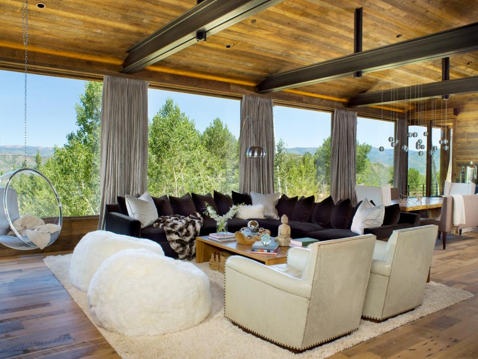 Rustic Contemporary Living Room With Picturesque Windows