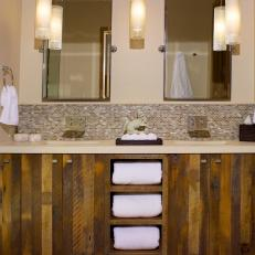 Reclaimed Wood Double Vanity In Rustic Bathroom