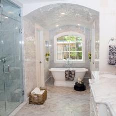 Custom Tile and Archway in Remodeled Master Bathroom
