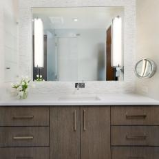 Neutral Contemporary Bathroom With Sconces and Floating Vanity