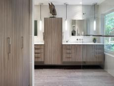 Contemporary Bathroom With Textured Tile Walls