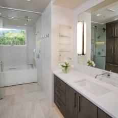 Contemporary Bathroom With Glass Shower and Tub Space